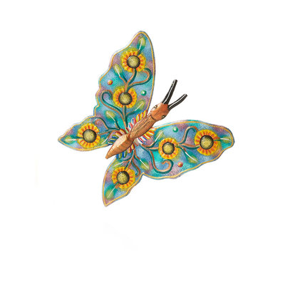 Serrv Sunflower Butterfly Metal Wall Art