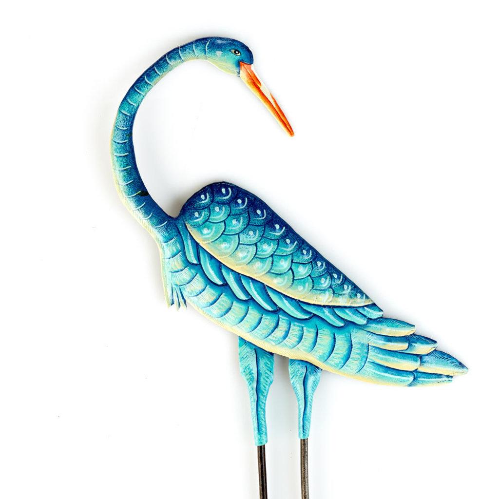 Serrv Teal Blue Crane Garden Stake
