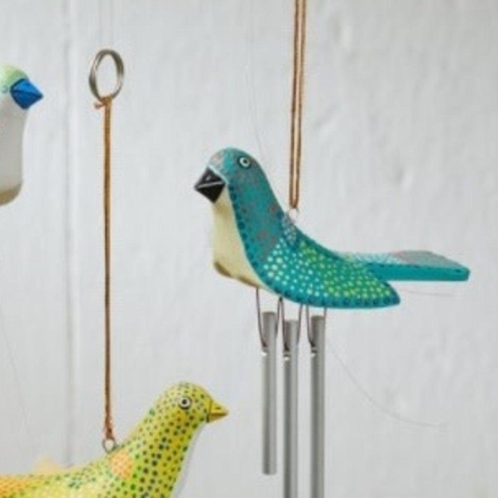 Serrv Birdie Wind Chime: Turquoise