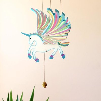 Tulia's Artisan Gallery Flying Mobile: Blue Unicorn