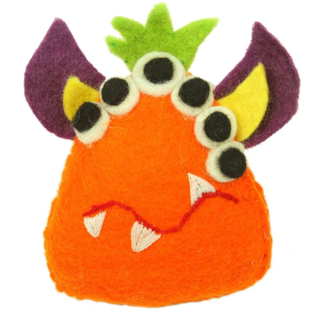 Global Crafts Felt Tooth Monster Doll: Orange