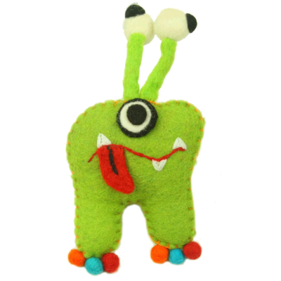 Global Crafts Felt Tooth Monster Doll: Green