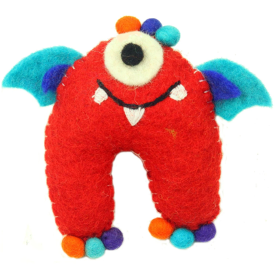 Global Crafts Felt Tooth Monster Doll: Red
