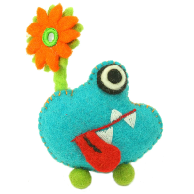Global Crafts Felt Tooth Monster Doll: Blue