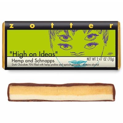 Zotter Chocolate High on Ideas Hemp & Schnapps  Hand-Scooped Chocolate