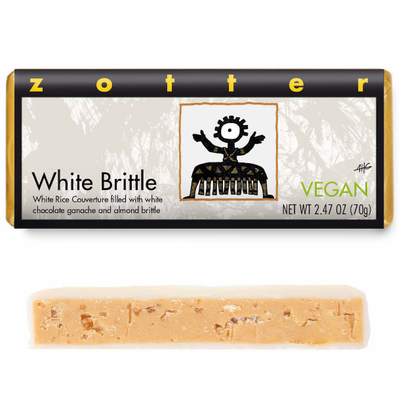 Zotter Chocolate White Brittle Vegan Hand-Scooped Chocolate