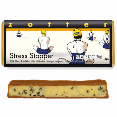 Zotter Chocolate Stress Stopper Carmelized Poppyseed Hand-Scooped Chocolate