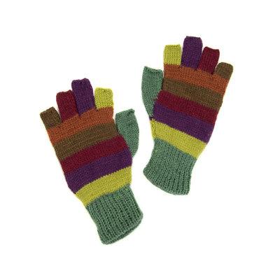 Minga Imports Alpaca Blend Fingerless Gloves: Jewel Tone Stripes