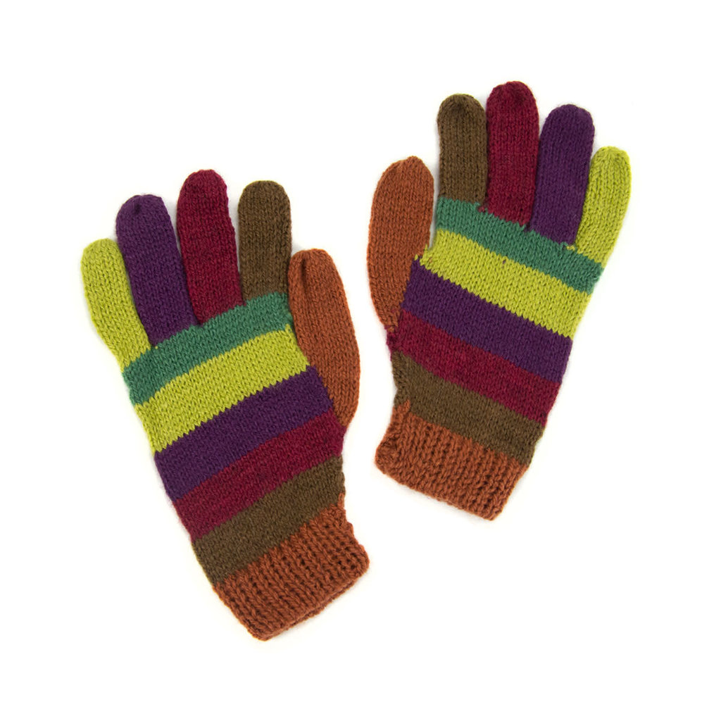 Minga Imports Alpaca Blend Gloves: Jewel Tone Stripes
