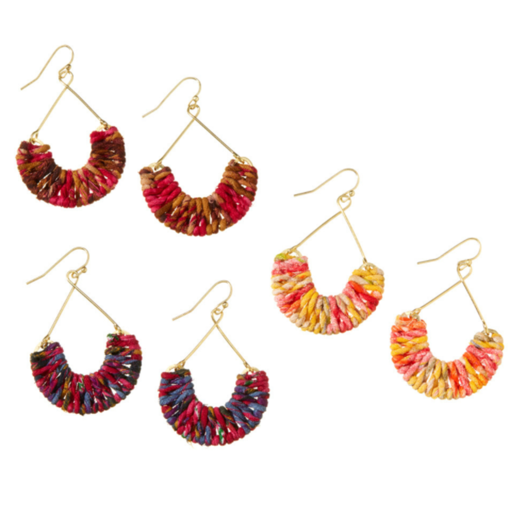 Serrv Warm Mayra Twisted Sari Earrings