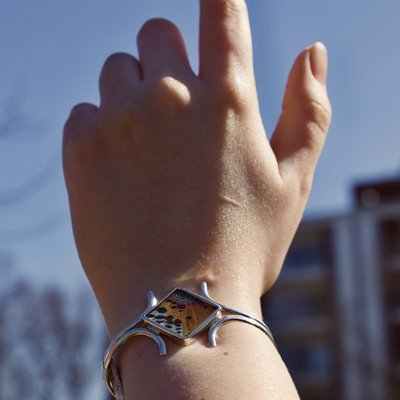 Silver Tree Designs Butterfly Wing Embracing Cuff - Chrysiridia Rhipheus/Sunset Moth