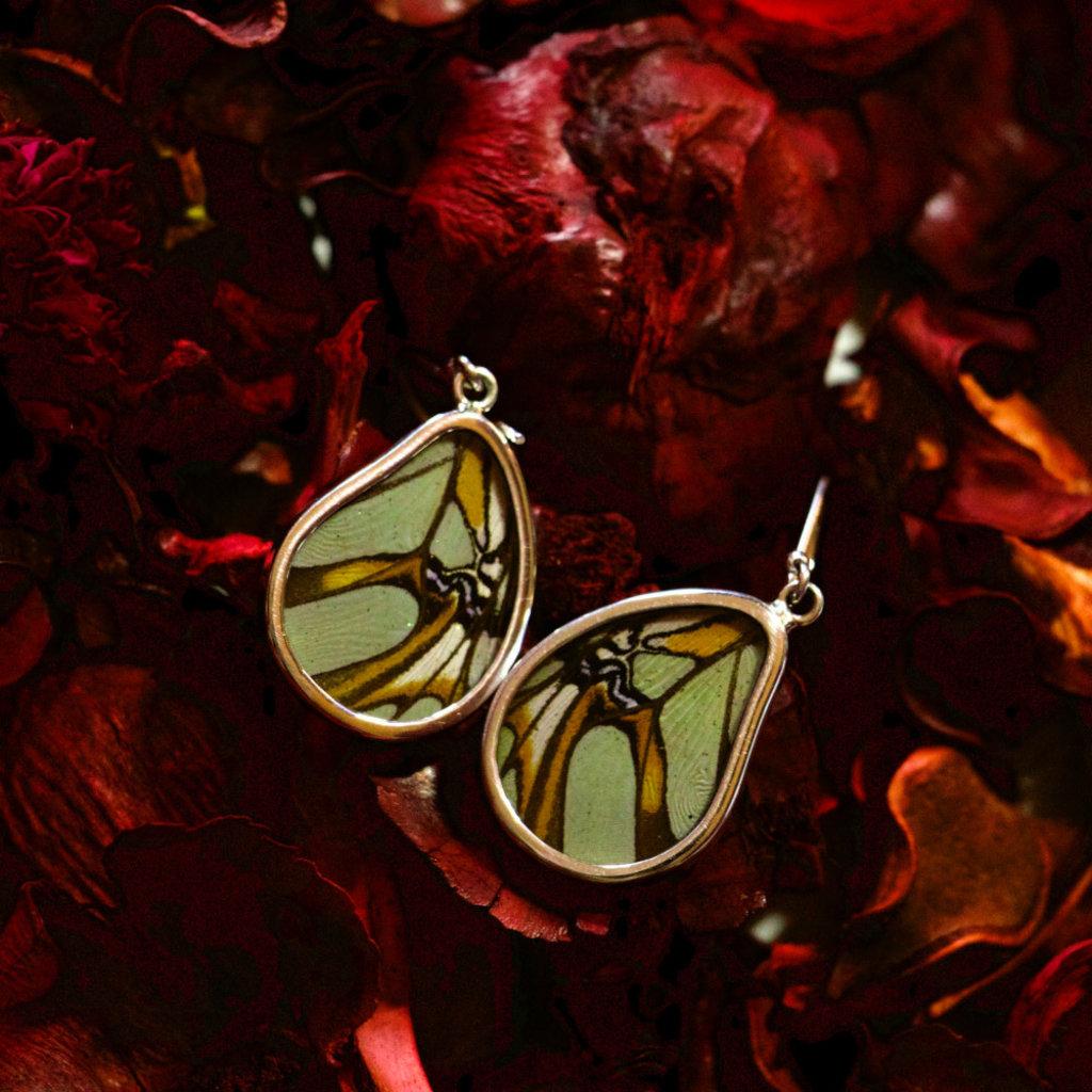 Silver Tree Designs Butterfly Wing Teardrop Earrings Malachite