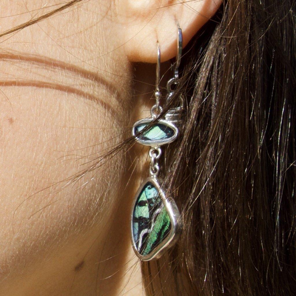 Silver Tree Designs Butterfly Wing Flutter Earrings - Urania Leylus