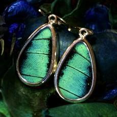 Silver Tree Designs Butterfly Wing Oblong Earrings - Prepona