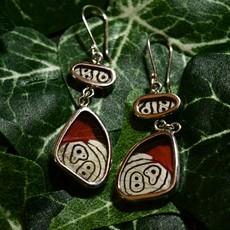 Silver Tree Designs Butterfly Wing Flutter Earrings - Diaethria Clymena