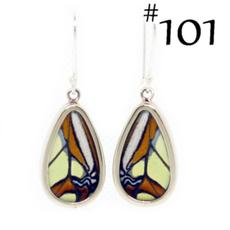 Silver Tree Designs Butterfly Wing Oblong Earrings - Malachite