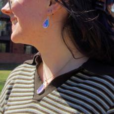 Silver Tree Designs Butterfly Wing Earrings Oblong Blue Morpho/Morpho Sulkowskyi