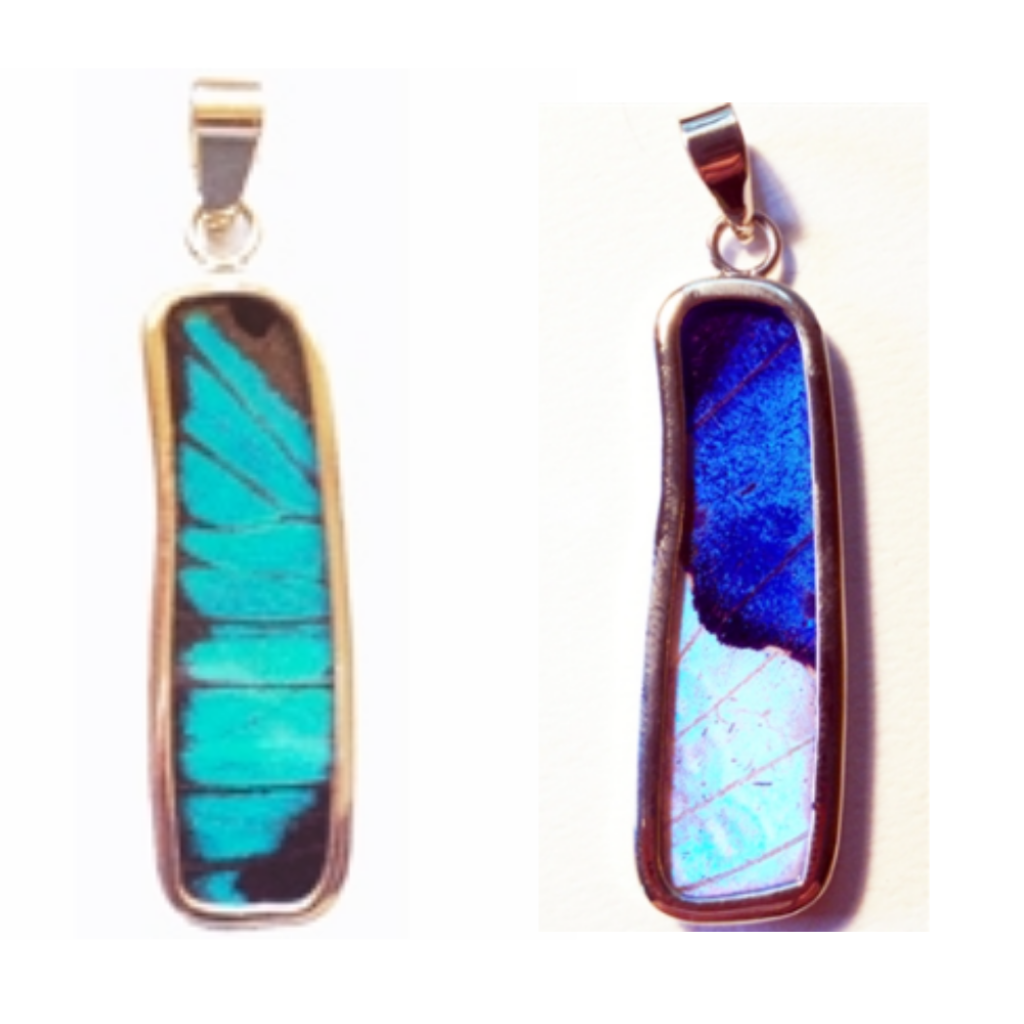 Silver Tree Designs Butterfly Wing Large Rectangle Pendant Blue Morpho / Morpho Sulkowskyi