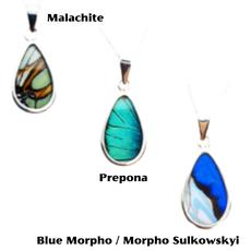 Silver Tree Designs Butterfly Wing Oblong Pendant - Malachite