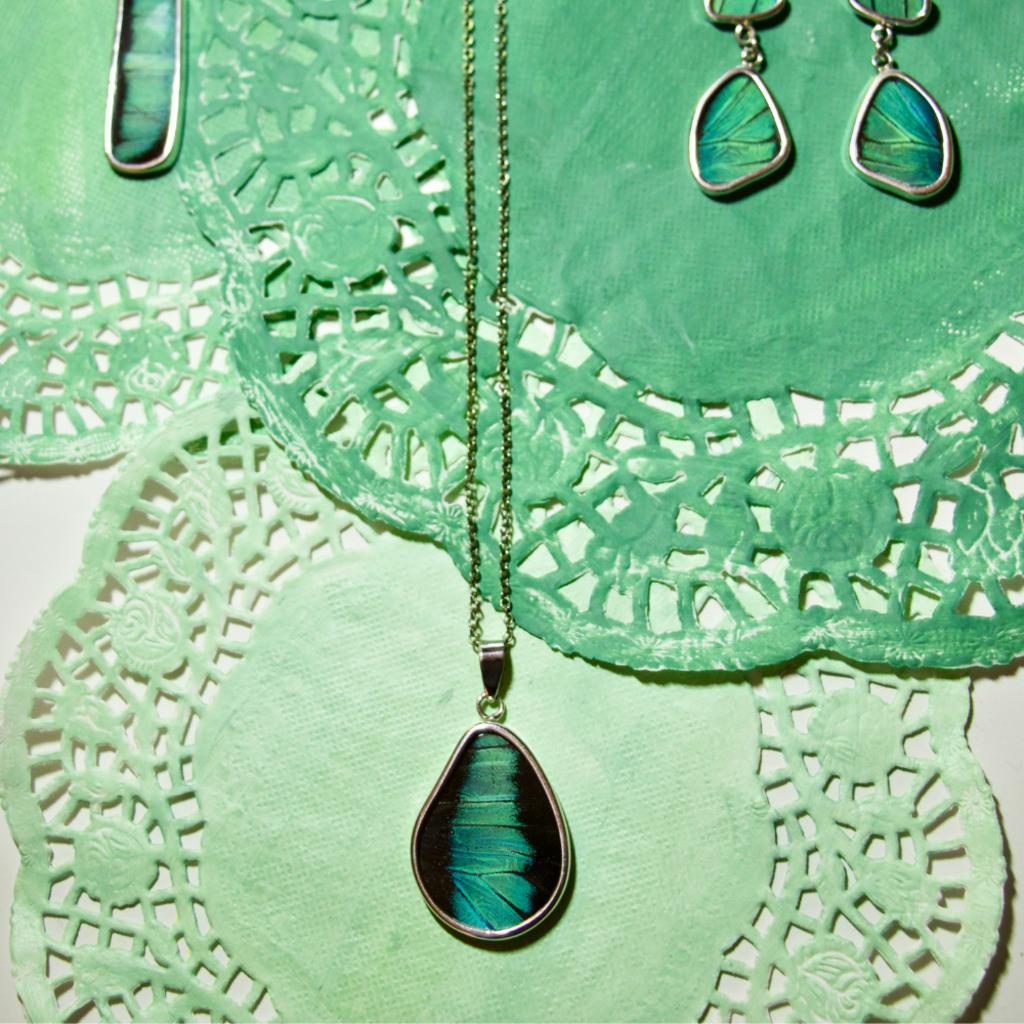 Silver Tree Designs Butterfly Wing Teardrop Pendant - Prepona