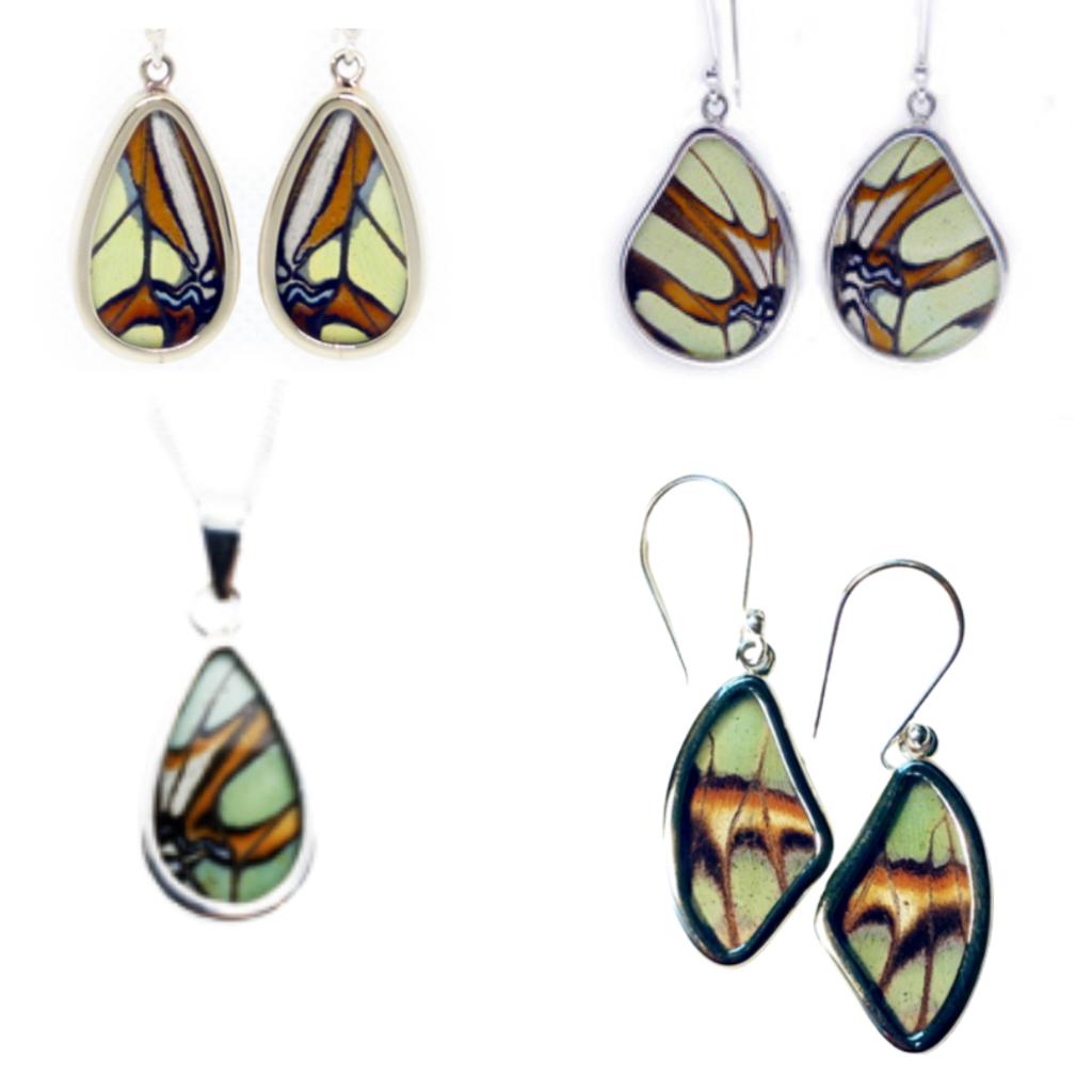 Silver Tree Designs Teardrop Butterfly Pendant 101 Malachite