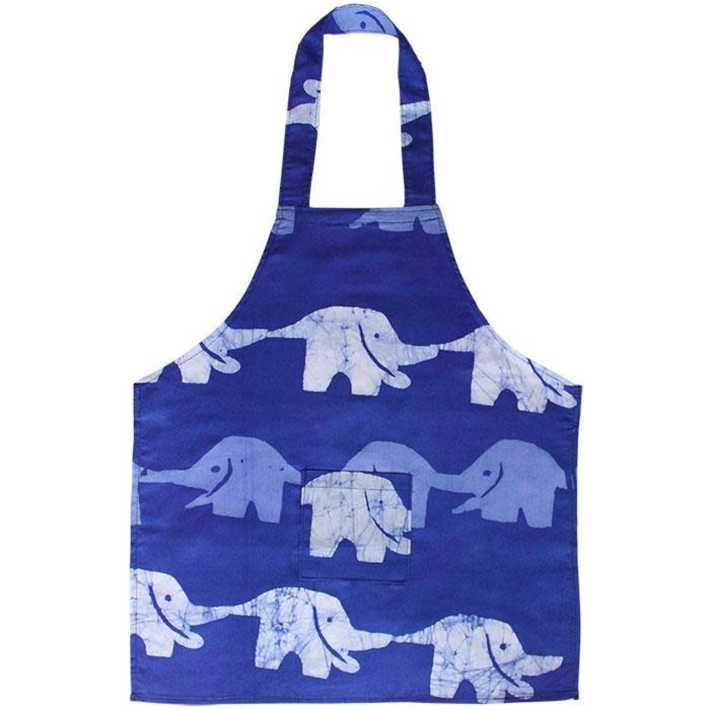 Global Mamas Kids Apron: Blue Elephants