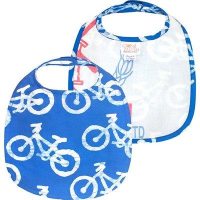 Global Mamas Organic Cotton Baby Bib: Blue Bikes