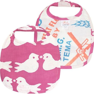 Global Mamas Organic Cotton Baby Bib: Rose Two Birds