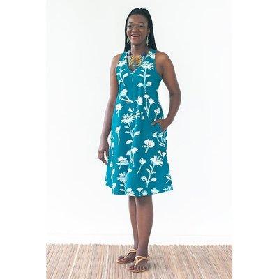 Global Mamas Oaklynn Batik Teal Wildflower Organic Cotton Dress