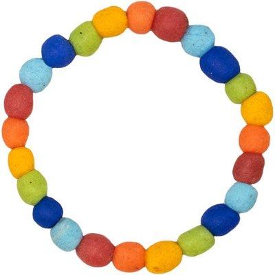 Global Mamas Recycled Glass Pearls Bracelet: Rainbow
