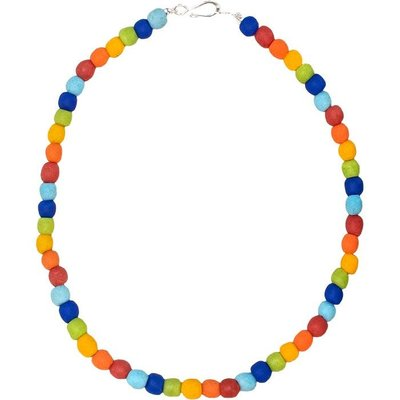 Global Mamas Recycled Glass Pearls Necklace: Rainbow