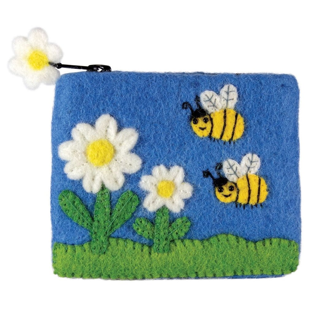 DZI Handmade Bumblebee Felted Wool Coin Purse