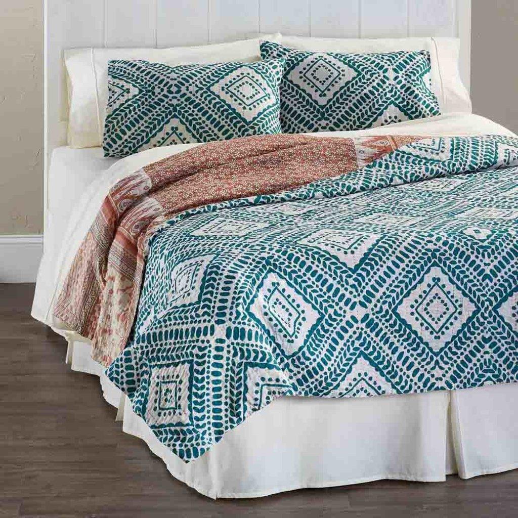Serrv Teal Diamond Kantha Queen Bed Quilt