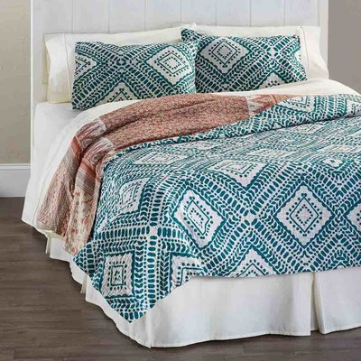 Serrv Teal Diamond Kantha Queen Bed Quilt