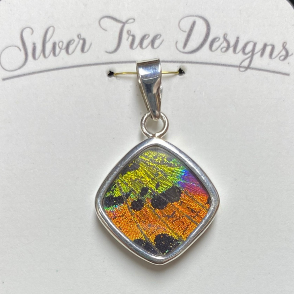 Silver Tree Designs Butterfly Wing Square Pendant - Chrysiridia Rhipheus/Sunset Moth