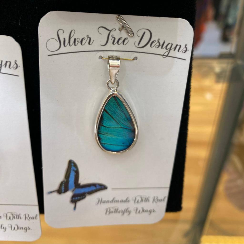 Silver Tree Designs Butterfly Wing Oblong Pendant - Prepona