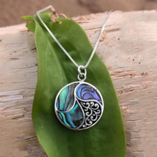 Women's Peace Collection Abalone Shell Round Sterling Necklace