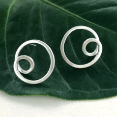 Women's Peace Collection Circle In Circle Sterling Silver Earrings