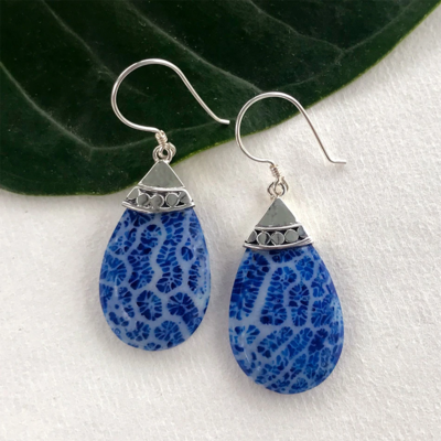 Women's Peace Collection Blue Coral Teardrop Sterling Earrings