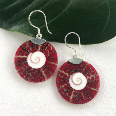 Women's Peace Collection Red Coral Round Sterling Earrings