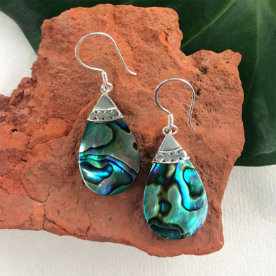 Women's Peace Collection Abalone Teardrop Sterling Earrings