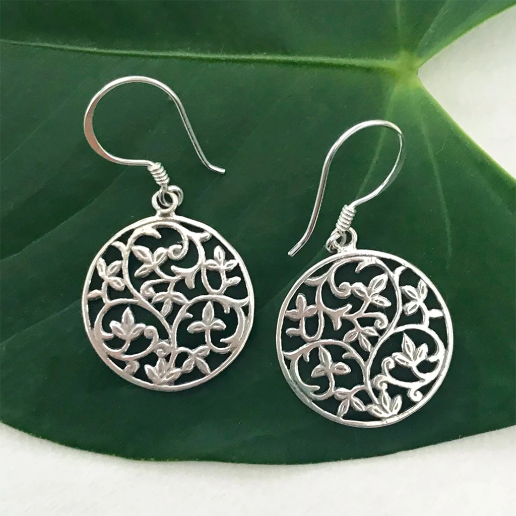 Women's Peace Collection Flowering Vines Sterling Silver Earrings
