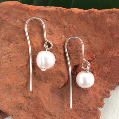 Women's Peace Collection Simplicity Pearl Sterling Silver Earrings