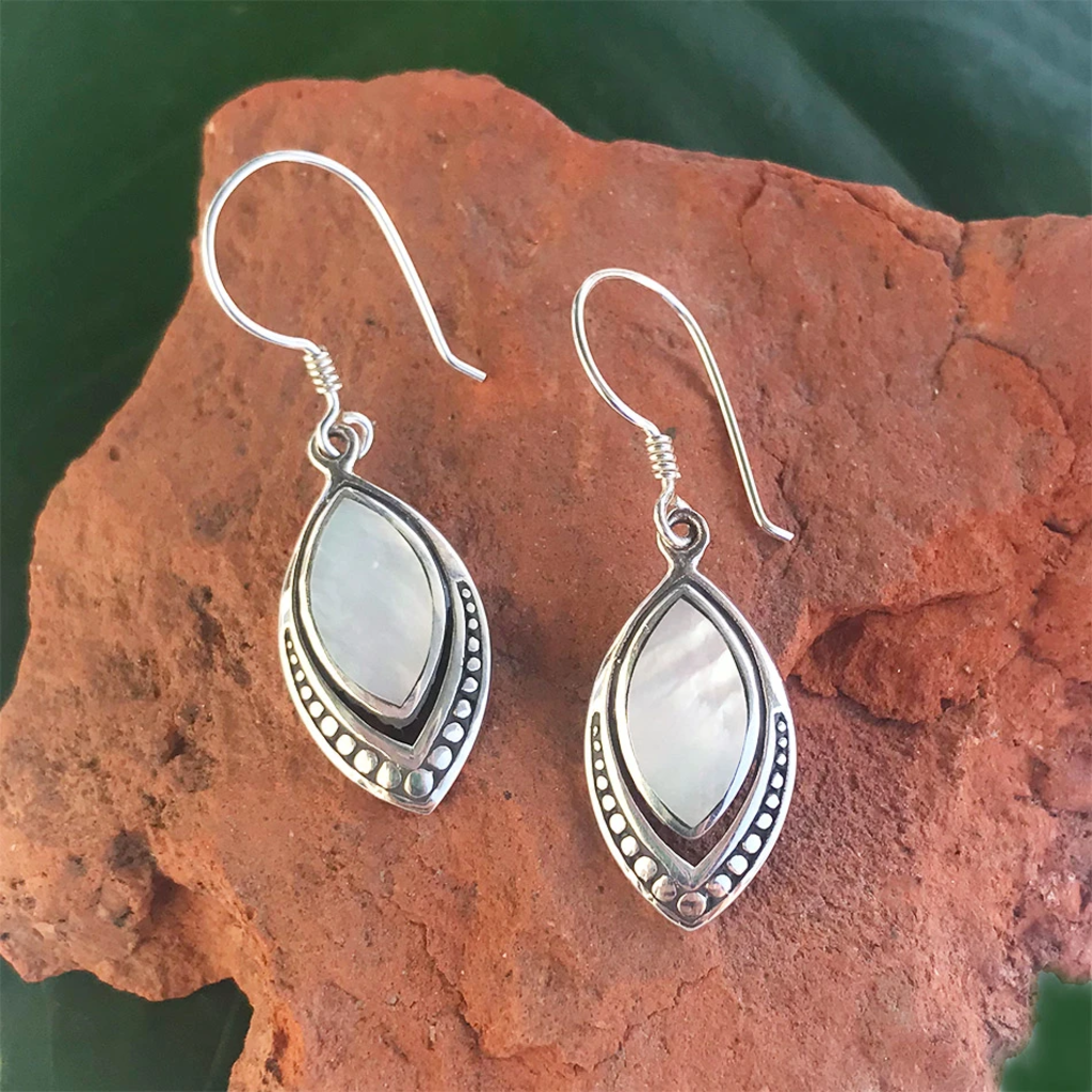 Women's Peace Collection Translucent Mother of Pearl Sterling Earrings