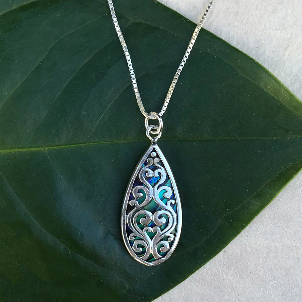 Women's Peace Collection Burung Abalone Sterling Silver Necklace