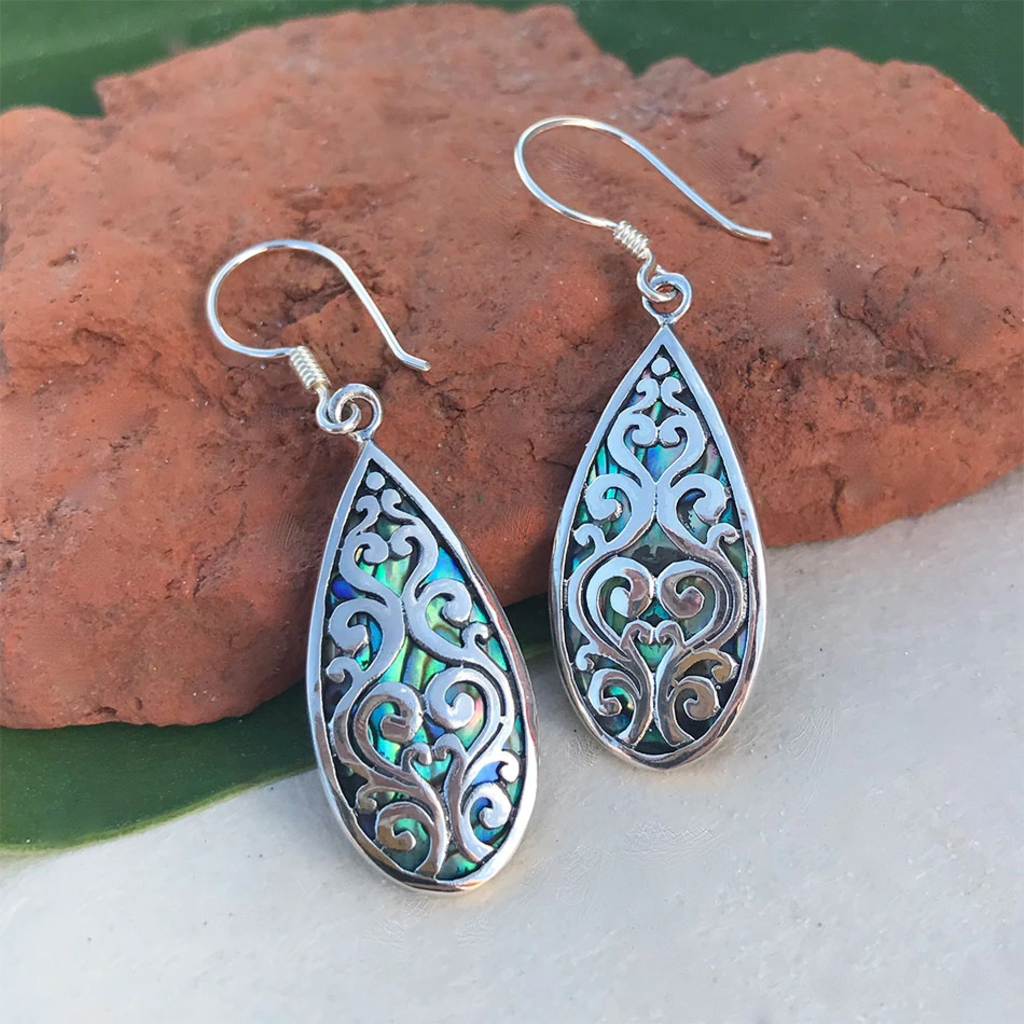 Women's Peace Collection Burung Abalone Sterling Silver Earrings