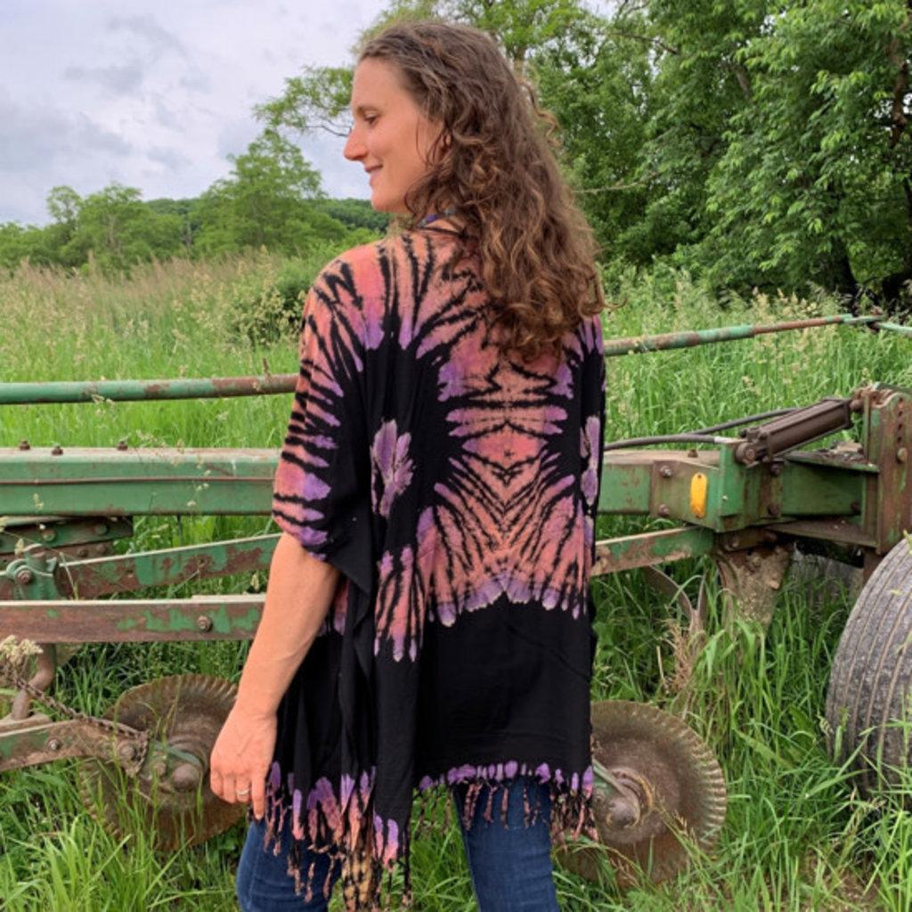 Unique Batik Fringed Kimono Top