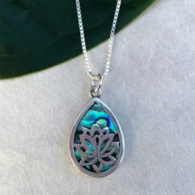 Women's Peace Collection Sacred Lotus Abalone Sterling Necklace