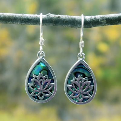 Women's Peace Collection Sacred Lotus Abalone Sterling Earrings