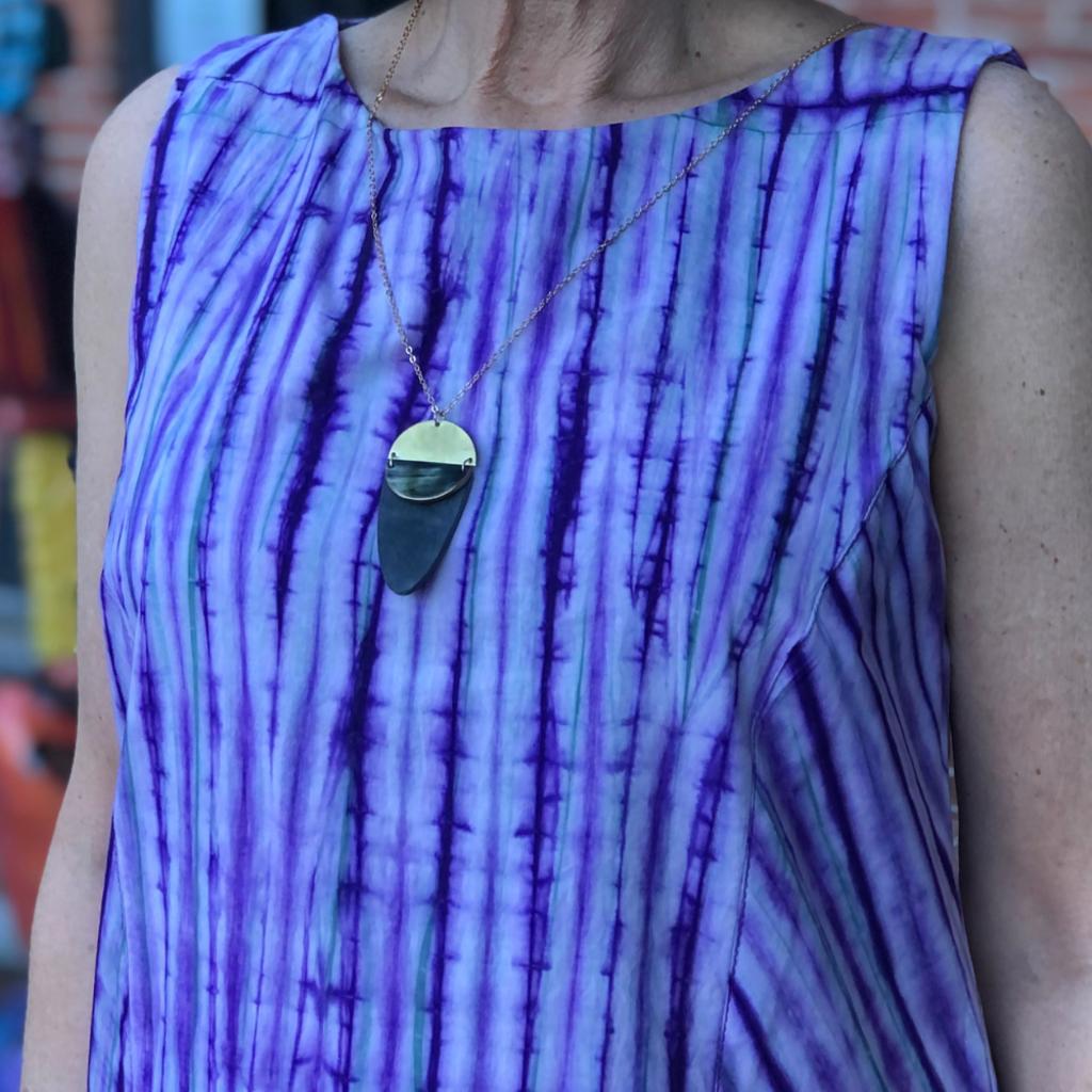 Fair Trade Winds Nola Dark Horn & Brass Necklace